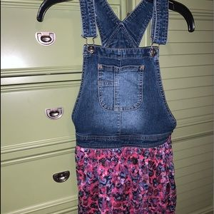 Denim romper with flowy skirt